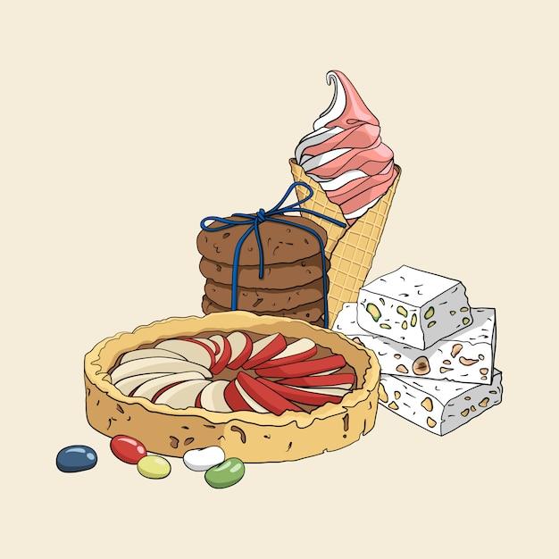 Insieme disegnato a mano isoleted variopinto di dolci. Vettore Premium