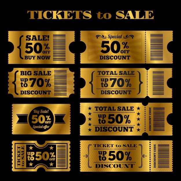 Insieme dorato di vettore dei biglietti di vendita. biglietti vettoriali in vendita Vettore Premium