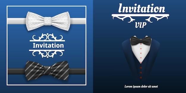 Insieme elegante della bandiera di cravatta a farfalla. l'illustrazione realistica della bandiera elegante di vettore di cravatta a farfalla ha impostato per il disegno di web Vettore Premium
