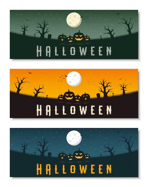 Insieme felice del modello dell'insegna di affari di halloween Vettore Premium
