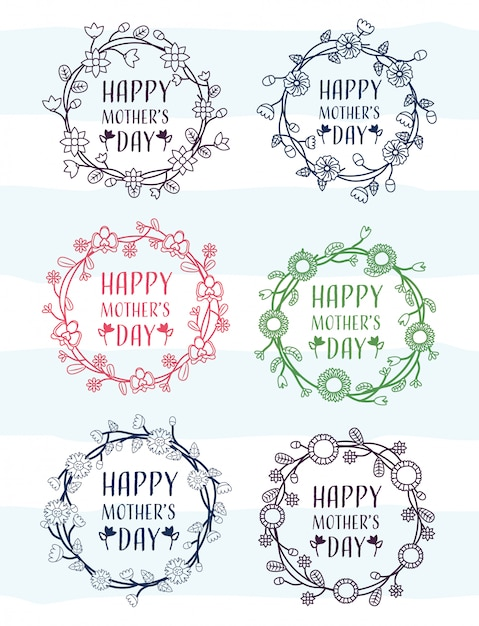Insieme felice di giorno di madri dei telai a partire dal giorno di madri con l'illustrazione del fiore Vettore gratuito