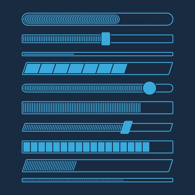 Insieme futuristico della barra di caricamento di progresso di download isolato Vettore Premium