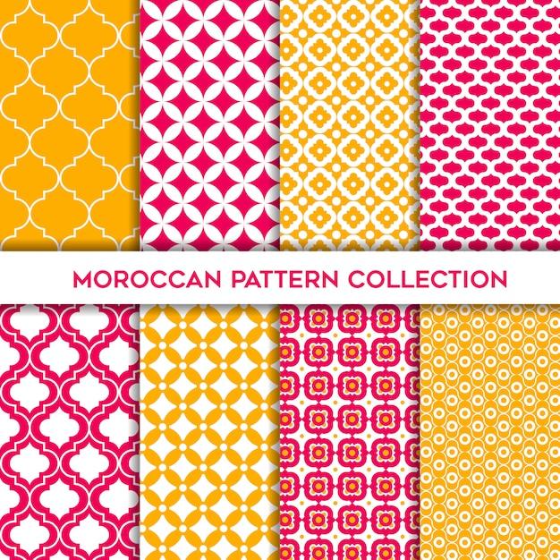 Insieme giallo e magenta di modelli senza cuciture geometrici marocchini Vettore Premium