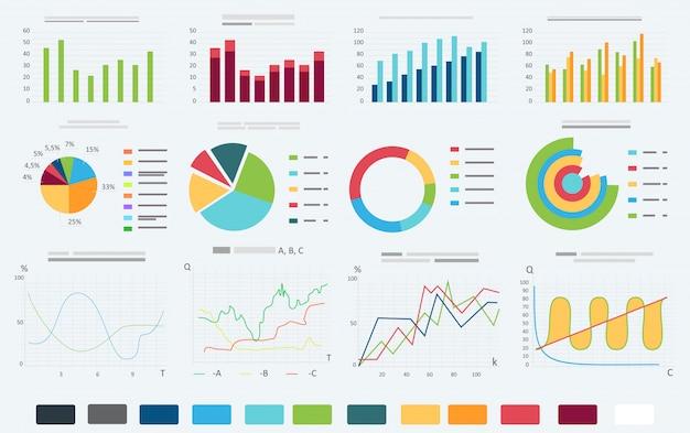 Insieme grafico di informazioni di affari di finanza Vettore Premium