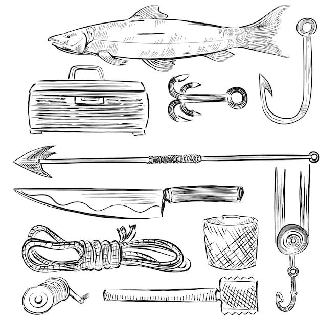 Insieme illustrato di attrezzature per la pesca Vettore gratuito