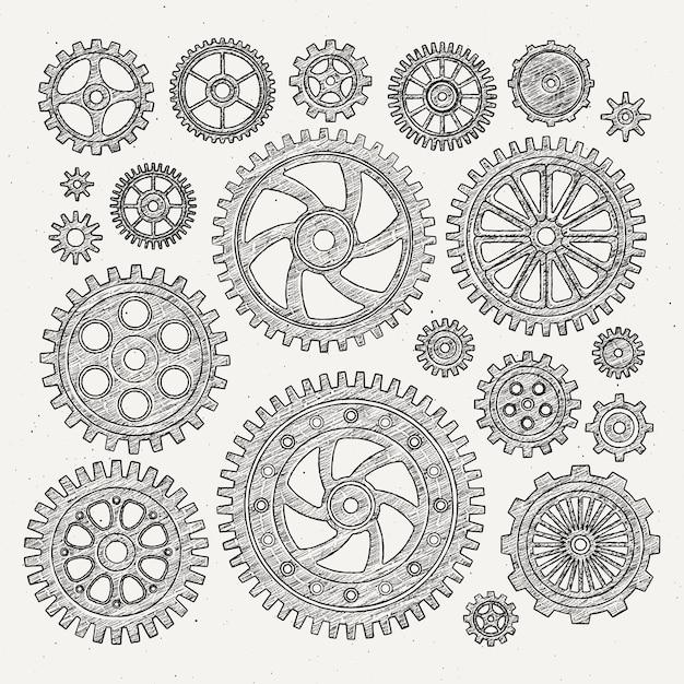 Insieme industriale dell'illustrazione delle ruote e delle ruote dentate meccaniche delle ruote di metallo. Vettore Premium