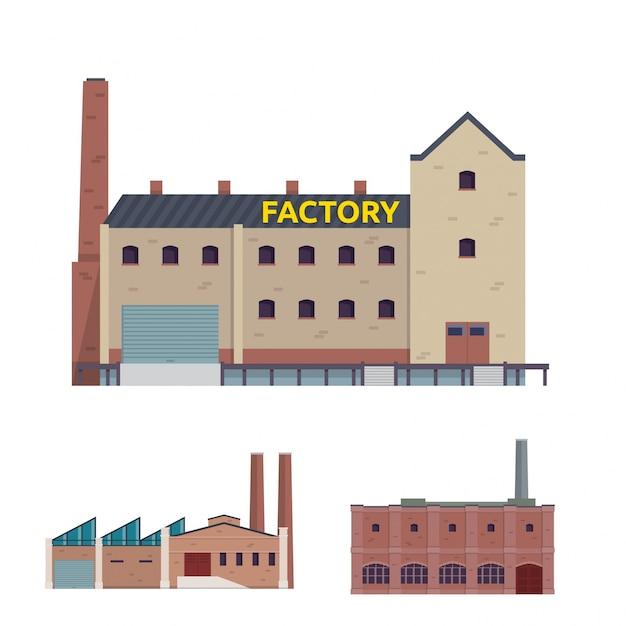 Insieme industriale moderno dell'illustrazione della costruzione del magazzino e della fabbrica industriale Vettore gratuito