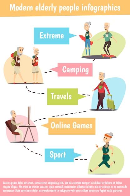 Insieme infographic degli anziani moderni Vettore gratuito