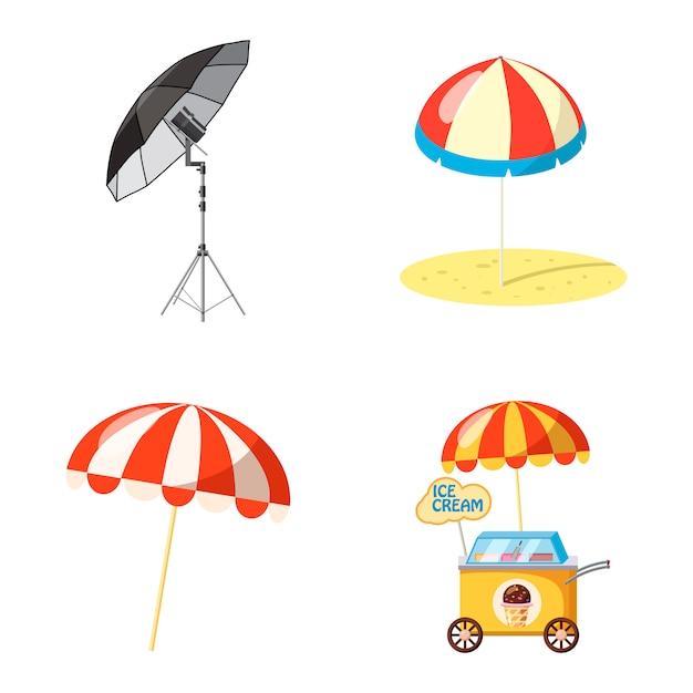 Insieme isolato dell'ombrello. cartoon set di ombrello Vettore Premium