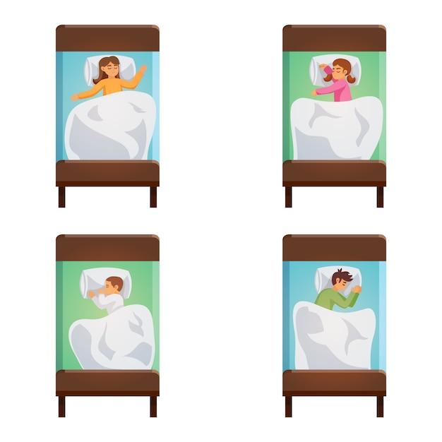 Insieme isolato di pose di sonno dei bambini Vettore gratuito
