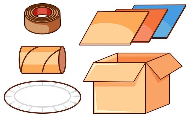Insieme isolato di scatole e carta Vettore gratuito