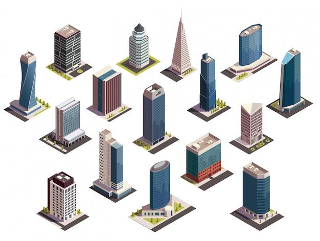 Insieme isometrico dei grattacieli della città delle immagini isolate con gli sguardi all'aperto delle costruzioni moderne sull'illustrazione in bianco del fondo Vettore gratuito