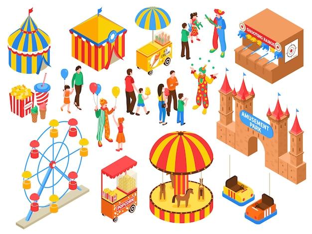 Insieme isometrico del parco di divertimenti Vettore gratuito