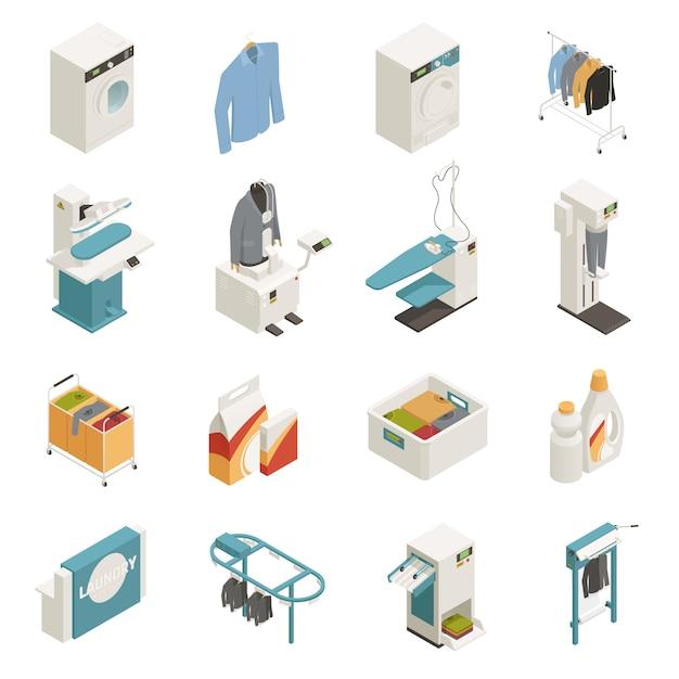 Insieme isometrico dell'attrezzatura di lavanderia Vettore gratuito