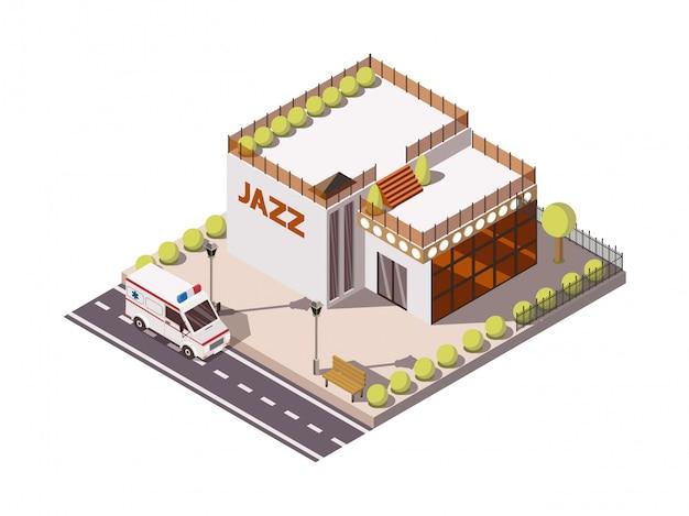 Insieme isometrico dell'automobile dell'ambulanza di servizio di soccorso vicino a costruzione con l'illustrazione di vettore del segno 3d di jazz Vettore gratuito