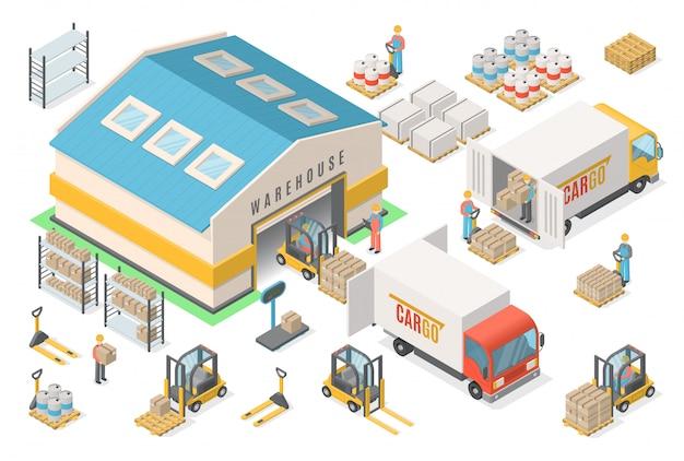 Insieme isometrico dell'icona del magazzino, schema, logistico Vettore Premium