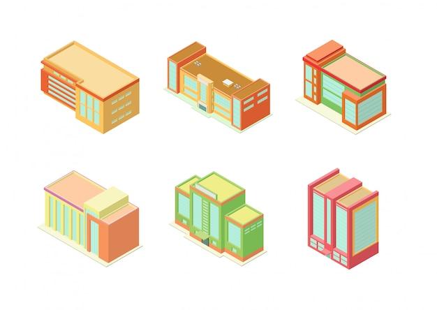 Insieme isometrico dell'icona delle costruzioni dell'hotel, dell'appartamento o dei grattacieli Vettore Premium