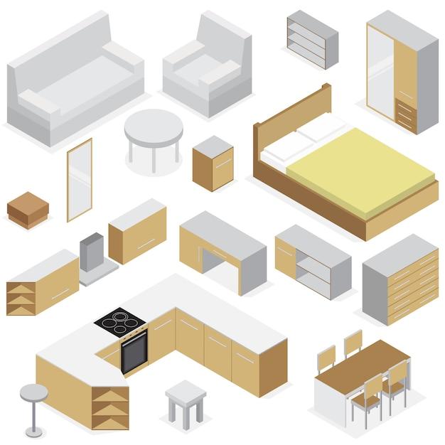 Insieme isometrico della mobilia domestica degli elementi per l'interno della camera da letto e del salone della cucina isolato Vettore gratuito