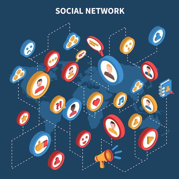 Insieme isometrico della rete sociale Vettore gratuito