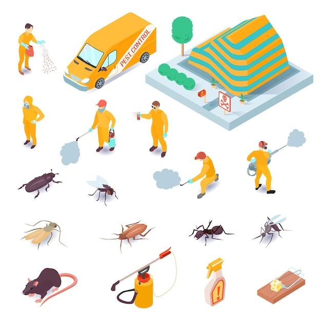 Insieme isometrico delle icone con gli specialisti di servizio di controllo dei parassiti i loro insetti dell'attrezzatura e roditori 3d isolati Vettore gratuito