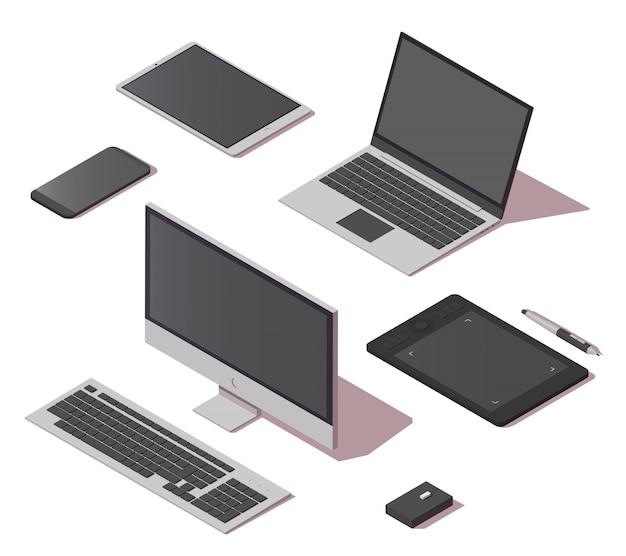 Insieme isometrico delle icone degli oggetti digitali Vettore Premium