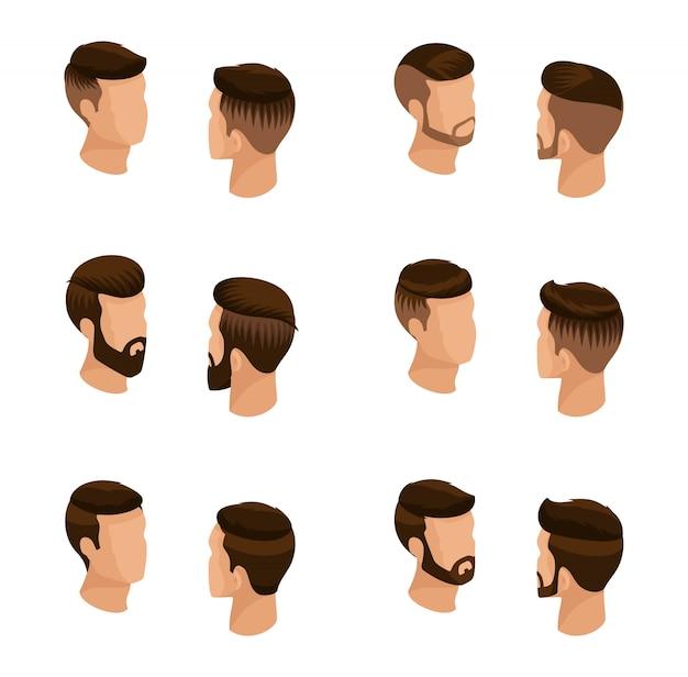 Insieme isometrico di avatar, acconciature maschili, stile hipster Vettore Premium
