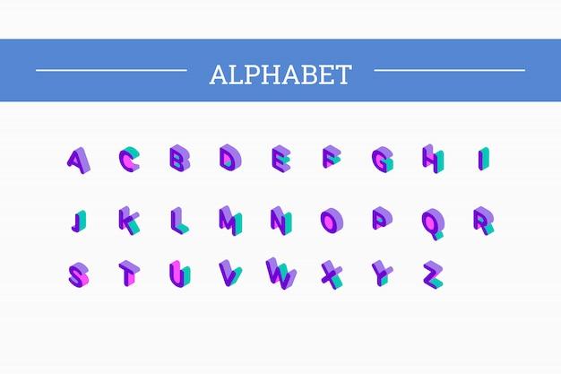 Insieme isometrico di carattere lettere di vettore 3d Vettore Premium