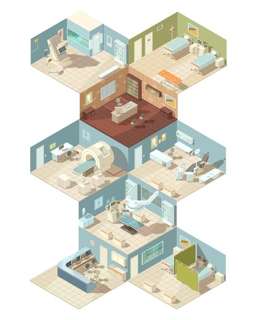 Insieme isometrico di concetto di progetto all'interno dell'ospedale del gabinetto della sala operatoria del reparto di ricezione Vettore gratuito