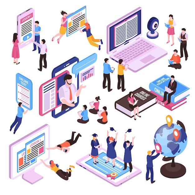 Insieme isometrico di lezioni online di studio della gente facendo uso della compressa e dello smartphone del pc isolati Vettore gratuito
