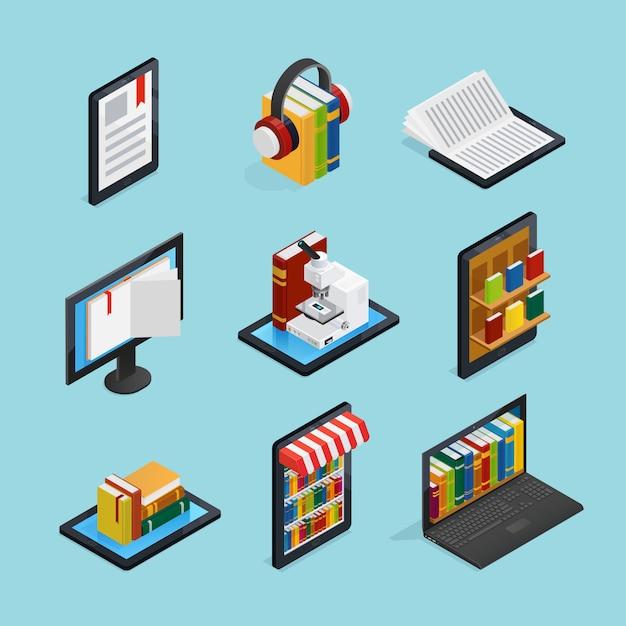Insieme isometrico di libri online Vettore gratuito