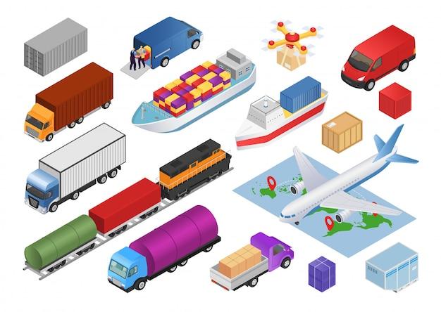 Insieme isometrico di logistica con le illustrazioni delle icone di consegna del carico di trasporto. raccolta di trasporto di camion, automobili, aeroplani, veicoli aziendali e treni, autobus, trasportatori. Vettore Premium
