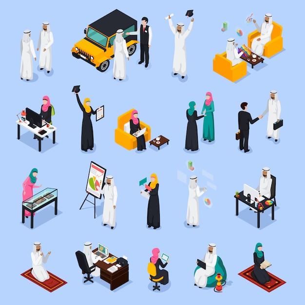 Insieme isometrico di persone arabe Vettore gratuito