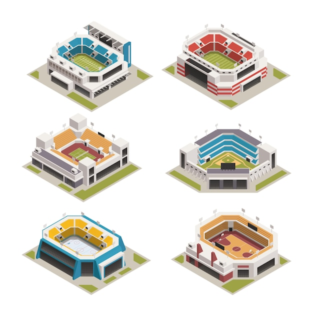 Insieme isometrico di stadion sport arena Vettore gratuito