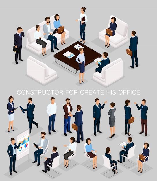 Insieme isometrico di uomini d'affari per creare il suo incontro di illustrazioni Vettore Premium