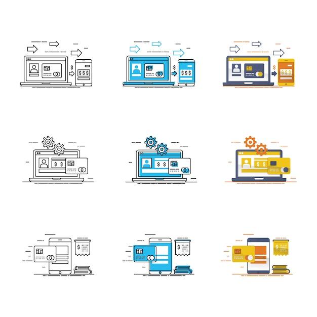 Insieme moderno dell'icona del dispositivo e di dati Vettore Premium