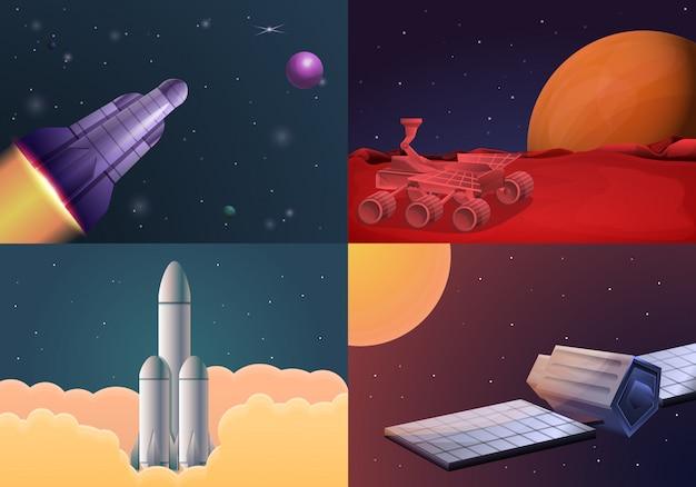 Insieme moderno dell'illustrazione di tecnologia di ricerca spaziale. illustrazione del fumetto di tecnologia di ricerca spaziale moderna Vettore Premium