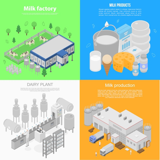 Insieme moderno dell'insegna della fabbrica del latte, stile isometrico Vettore Premium