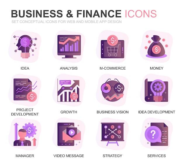 Insieme moderno delle icone piane di gradiente di affari e di finanza Vettore Premium