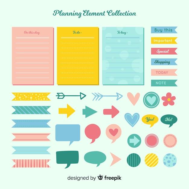 Insieme moderno di elementi di pianificazione colorati Vettore gratuito
