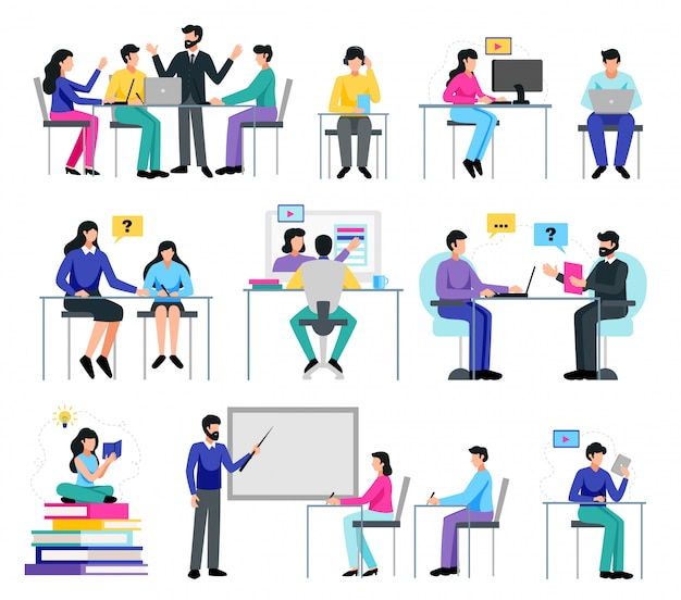 Insieme online di istruzione con l'apprendimento dell'illustrazione isolata piano di simboli Vettore gratuito