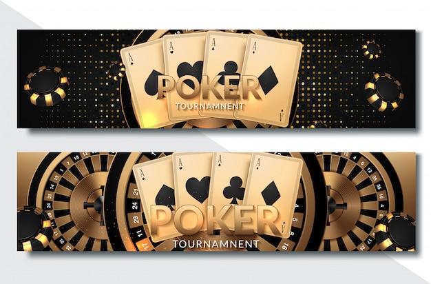 Insieme orizzontale dell'insegna del casinò del poker Vettore Premium
