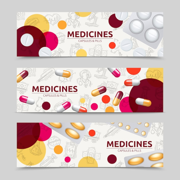 Insieme orizzontale dell'insegna delle capsule delle pillole e delle medicine Vettore gratuito