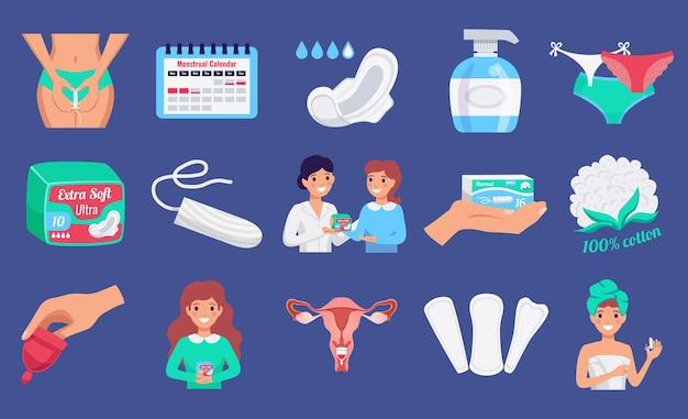 Insieme orizzontale piano dei prodotti di igiene femminile con le fodere di panty delle tazze di lavaggio delle tazze mestruali del tampone isolate Vettore gratuito