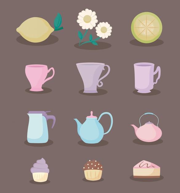 Insieme pastello pastello dell'icona di tempo del tè di colore Vettore Premium