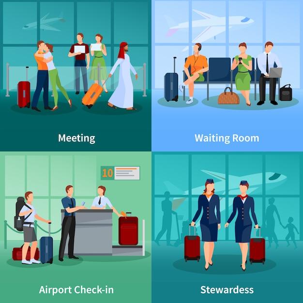Insieme piano concetto di aeroporto di passeggeri con persone di incontro e attesa bagaglio Vettore gratuito