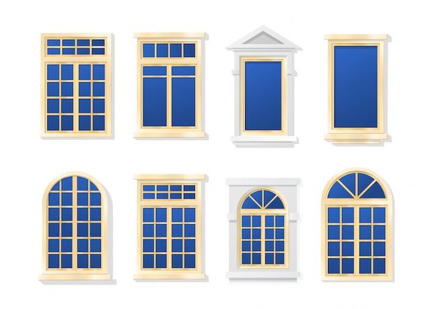 Insieme piano del fumetto di windows isolato Vettore Premium