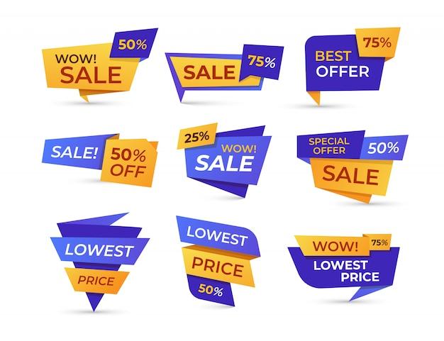 Insieme piano dell'icona delle etichette di vendita del supermercato Vettore gratuito