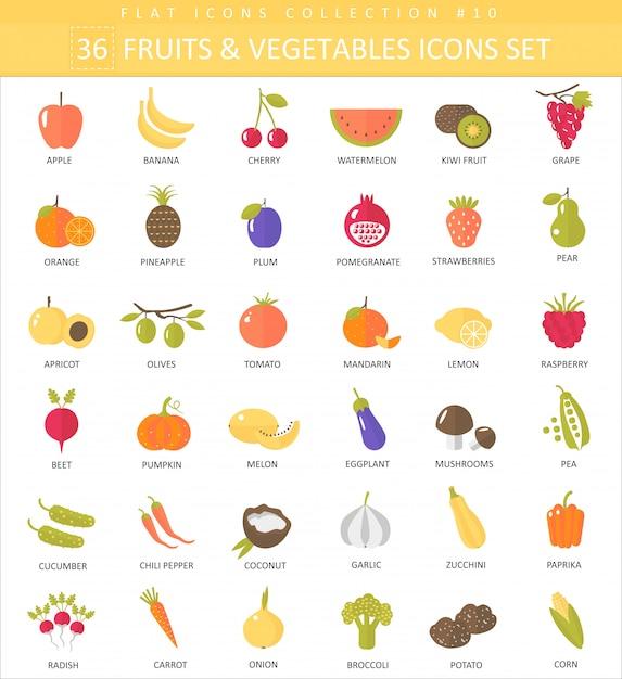 Insieme piano dell'icona di vettore di frutta e verdura di colore. design elegante. Vettore Premium