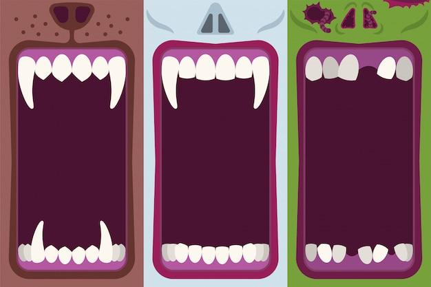 Insieme piano dell'illustrazione del fumetto della bocca del mostro di halloween Vettore Premium