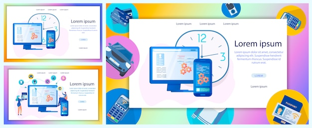 Insieme piano dell'insegna di web di vettore di servizio online di affari Vettore Premium